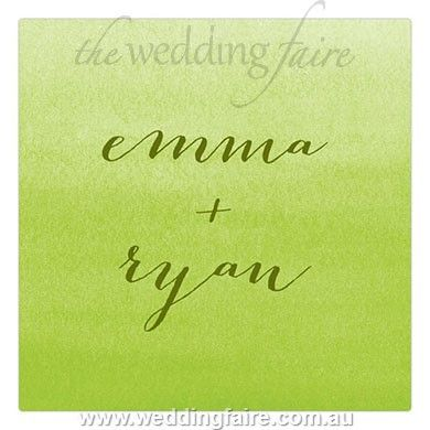 Aqueous Personalised Clear Acrylic Block Cake Topper - Apple Green - The Wedding Faire