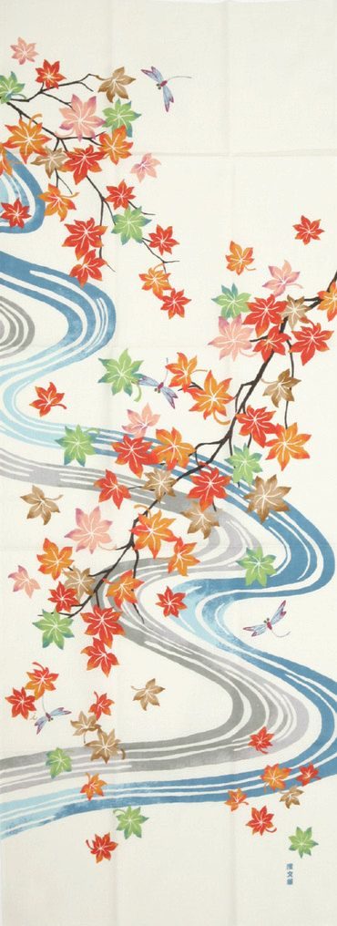 Japanese tenugui, fabric 'Flowing Maple Leaves'                              …