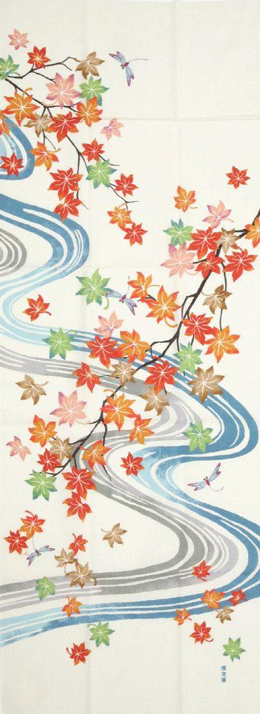 maple leaves - tenugui