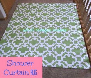 DIY rug made from fabric shower curtain and cheap rug.