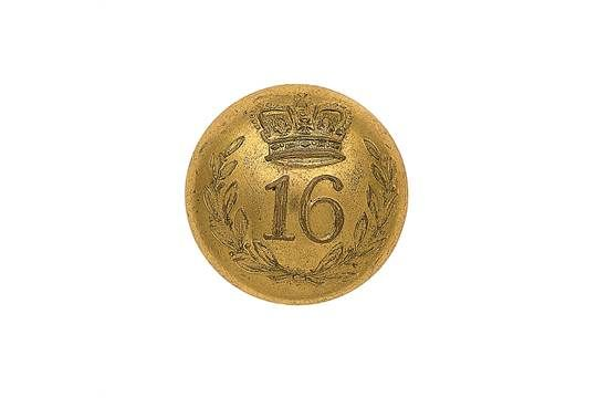 16th (Bedfordshire) Regiment of Foot Officer's gilt closed-back coatee button. A fine scarce exam