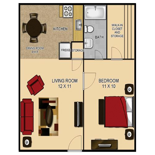 floor plans for homes under 500 sq ft