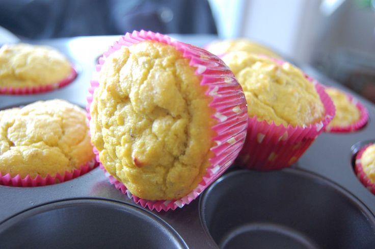Paleo Banana Muffins - 1/2 cup of butter or ghee, 6 eggs, coconut flour, honey, over ripe bananas, vanilla  , salt  , baking powder