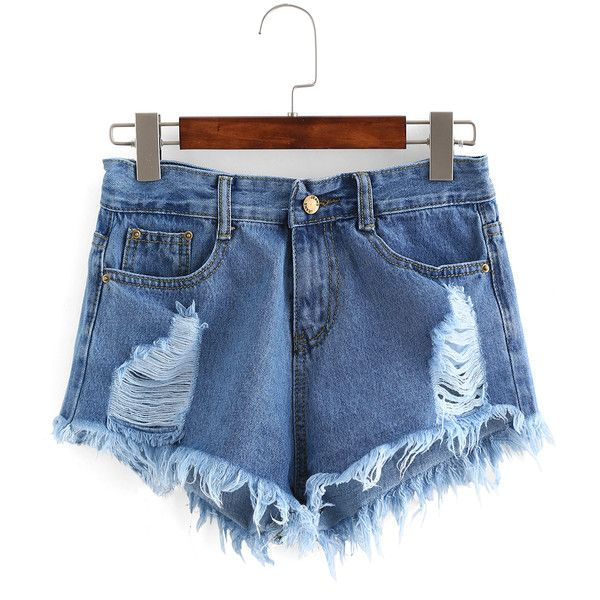 Ripped Raw Hem Denim Shorts (46 BRL) ❤ liked on Polyvore featuring shorts, blue, torn shorts, jean shorts, destroyed shorts, short jean shorts and distressed jean shorts