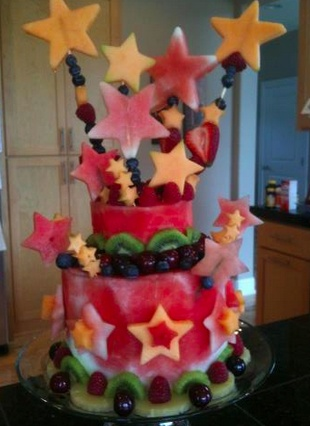This one looks like fireworks!: Fruit Salad, Parties, Fruit Cakes, 4Th Of July, Healthy Cakes, 25Th Birthday, Summer Birthday, Watermelon Cakes, First Birthday Cakes