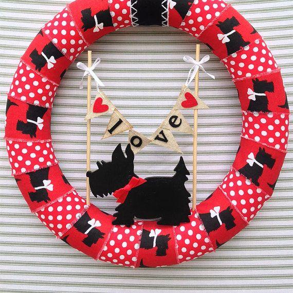 Dog Wreath, Scottie Dog Wreath, Black Scottie Dog Wreath, Red Scottie Dog…