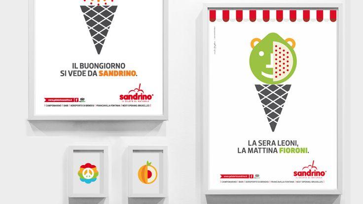 Visual Design Sandrino 3  Progettazione di below the line per la veicolazione del brand all'interno di ogni punto vendita. La grafica è perfettamente in linea con la campagna pubblicitaria, leggera, ironica, divertente.