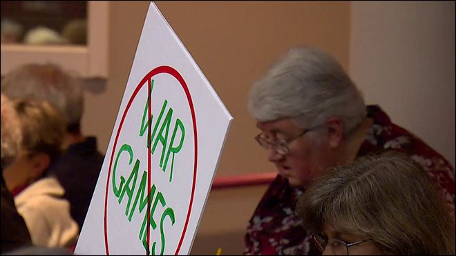 VIDEO OF INTEREST: Raucous protesters shout down Navy presentation on war games http://www.komonews.com/news/local/Raucous-protesters-shout-down-Navy-presentation-281883341.html The two hour question-and-answer session focused on public response to a plan to install and expand electromagnetic emitter systems in the Olympic National Forest. The systems are designed for war games and testing for the military.