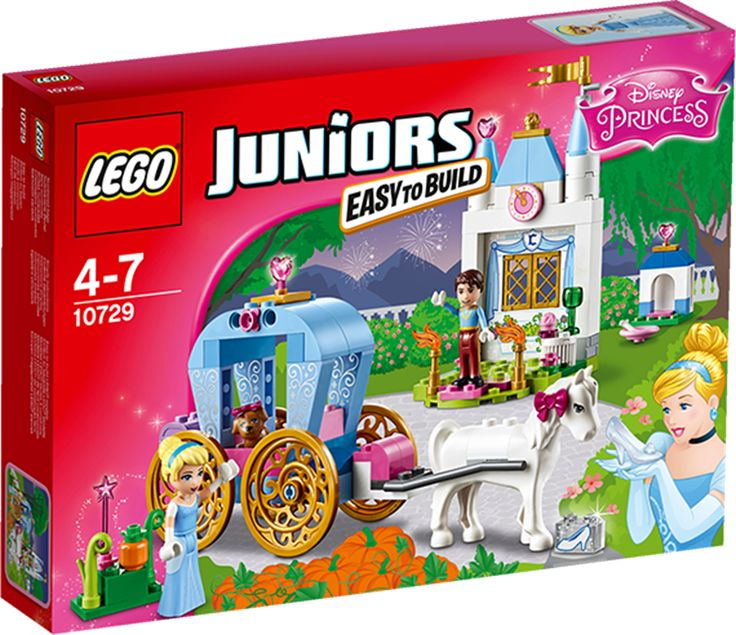 LEGO JUNIORS 10729 Askepotts vogn LEGO konstruksjonssett: LEGO JUNIORS Askepotts vogn (10729)Bli med Askepott på en spennende tur i den magiske vognen hennes. Møt den elegante prinsen, lek med Askepotts søte valp og hjelp henne når hun gjør seg klar til slottsballet. Bare husk å få Askepott hjem igjen før trolldommen brytes! Bli en del av den klassiske eventyrfortellingen med LEGO JUNIORS Disney Princess!