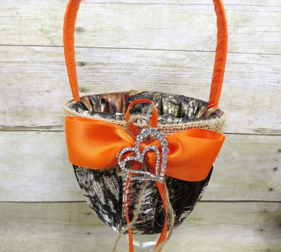 Mossy Oak flower girl basket with Burlap and Orange, Camo flower girl basket, Camouflage Basket, Camo and Burlap Flower Girl Basket
