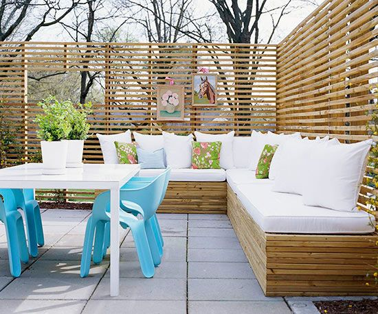 There are a lot of benefits to benches! Get more furniture ideas here: http://www.bhg.com/home-improvement/patio/designs/patio-furniture-ideas/?socsrc=bhgpin081314benchbenefits&page=6