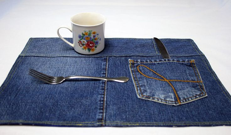 Blue Jean Placemats Denim Placemat Western Placemat Denim Snack Mats Kitchen Placemats Blue Jean Mat Up Cycled Jeans Farm Country Kitchen by KnitrxSews on Etsy