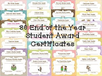 30 End of Year Student Award Certificates