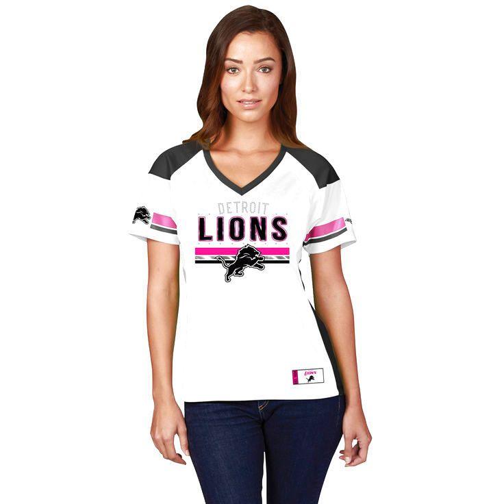 Detroit Lions Majestic Women's Draft Me Fashion T-Shirt - White/Pink - $54.99