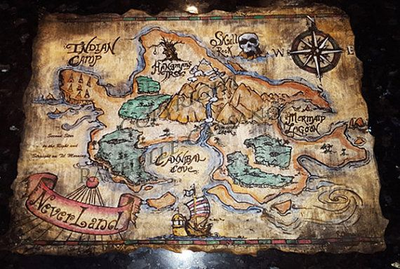 Larger Size Hand Painted Neverland Map by CreartiveStudios on Etsy