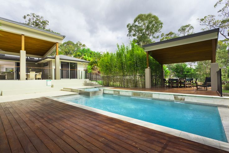 I love backyards with covered areas, pools and extensive decking. Look how easy this backyard is to mow!!