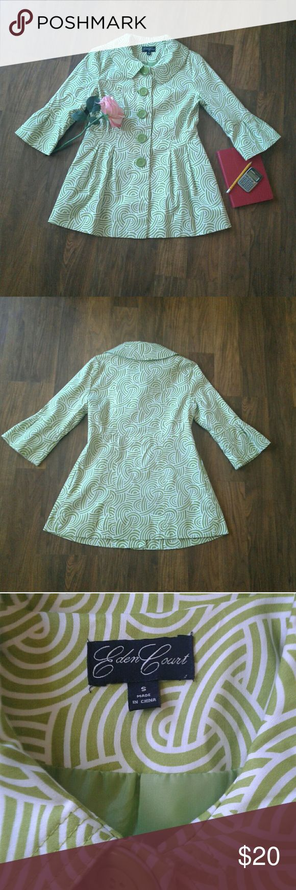 3/4 Sleeve Peter Pan Collar Geo Print Jacket Sz S 3/4 Sleeve Peter Pan Collar Geo Print Jacket Sz S Size small Lightweight  Good condition - normal wear  Colors green & white Measurements and fabric content picture provided for review  Item is stored in a pet & smoke free environment Eden Court Jackets & Coats