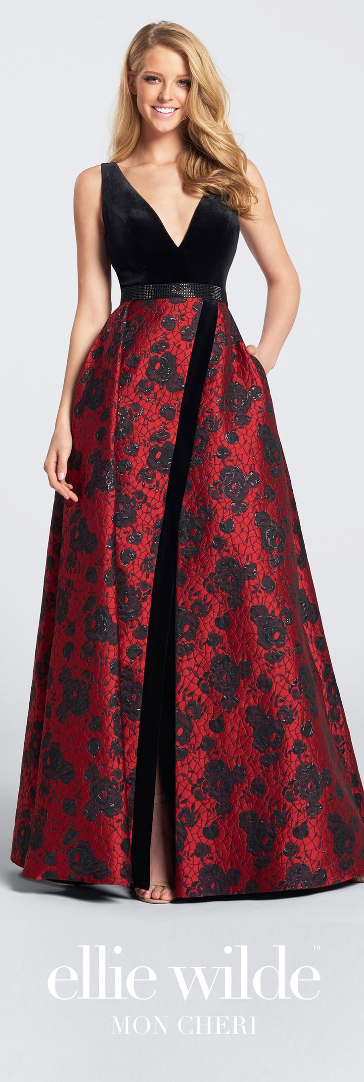 Ellie Wilde - Fall 2017 - Style No. EW21721 - black and red sleeveless velvet and jacquard full A-line evening gown