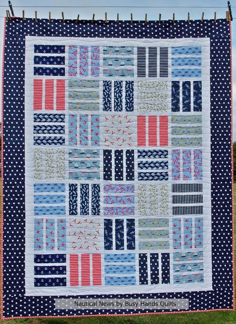 Busy Hands Quilts: Nautical News Custom Twin Quilt + Pattern {it's FREE!}