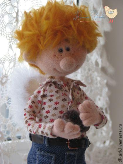 ангел для Татьяны - рыжий,ангел,валяная игрушка,кукла ручной работы,мальчик: