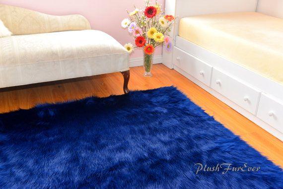 Navy Blue Luxurious Shaggy Rectangle Area Rug by PlushFurever