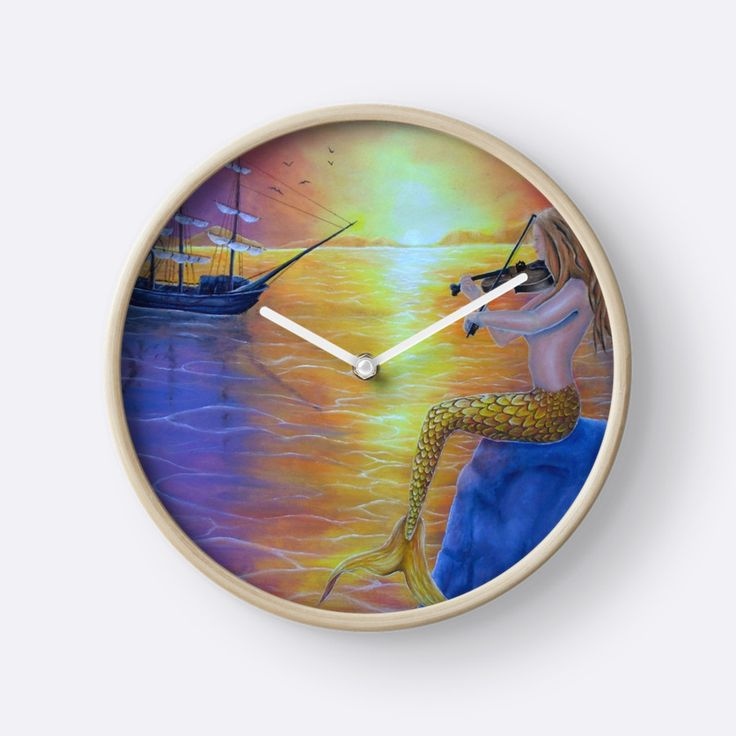 Wall Clock, artistic,decorative,items,fantasy,mermaid,colorful,modern,beautiful,awesome,cool,home,office,wall,decoration,gifts,presents,ideas,for sale,redbubble