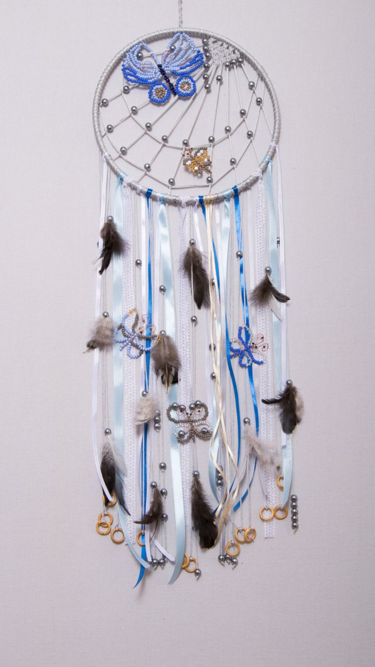 Large gray boho dream catcher with butterfly and feathers Wedding decor Wall hanging (54.99 USD) by imaginationUA