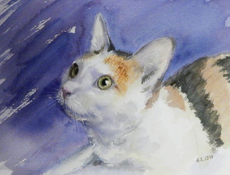 Кошка Анфиса. Акварель, бумага Arches 300 г. 2014 год