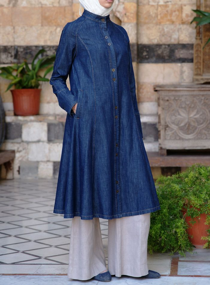 How versatile is this long  jacket? Yaqoot Denim Jacket from Shukr #Islamic clothing