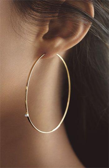 "Lana Jewelry ""Large Flat Magic"" Diamond Hoop Earrings."