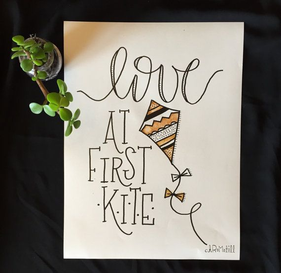 love at first kite print fun lettering + lots of flair + kite-lovers dream! hand-drawn illustration perfect for any kite-lover, Kappa Alpha Theta