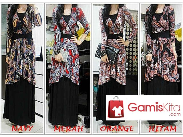 Gamis Kimono Tatum, gamis terbuat dari kombinasi material spandek korea dan spandek rayon dengan kualitas baik yang nyaman dikenakan, model kimono motif paisley dengan karet pada punggung belakang, sisi bawah bukaan layer, lengan panjang.