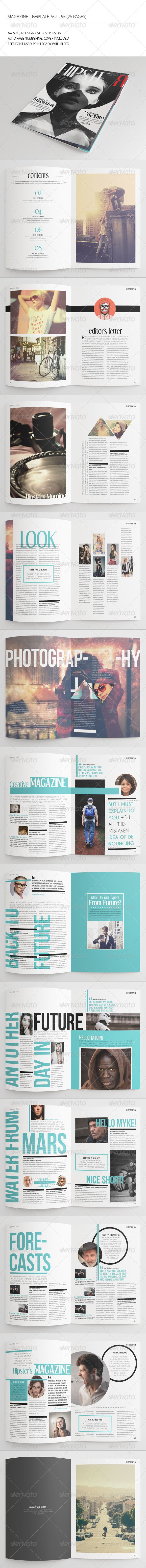 25 Pages Hipster Magazine Vol55  #grunge #hipster #indesign magazine • Available here → http://graphicriver.net/item/25-pages-hipster-magazine-vol55/7738074?s_rank=152&ref=pxcr