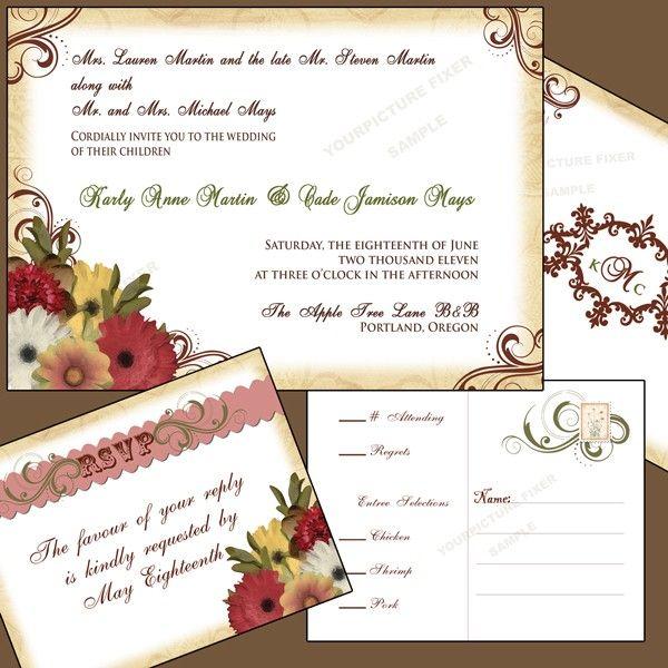 Vintage Daisy Wedding Invitation Suite
