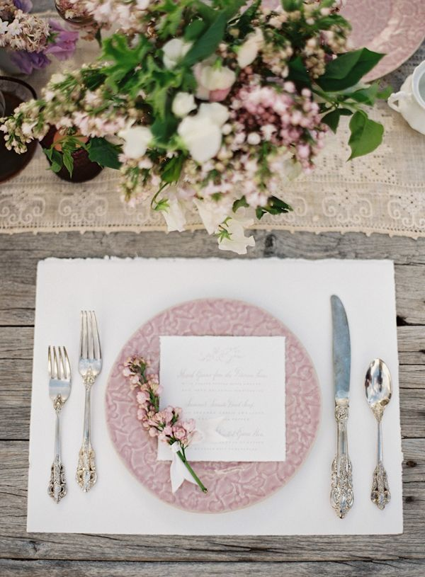 Soft, feminine details like touches of pink are perfect for a Parisian-inspired affair.: Decor, Table Settings, Places Mats, Romantic Sets, Idea, Pink Places, Tables Places Sets, Wedding Tables Sets, Wedding Places Sets