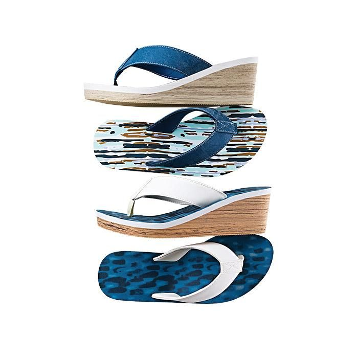 """Serene Printed Wedge Flip-Flop. FEATURES•Leather-like upper resembles a denim washed appearance with printed insole• Thong flip-flop• 2 1/4"""" high faux-wood wedge•Slide on style• Soft foam insoleMATERIALS•Upper:PolyurethaneCARE•Wipe with dry clothImported"""