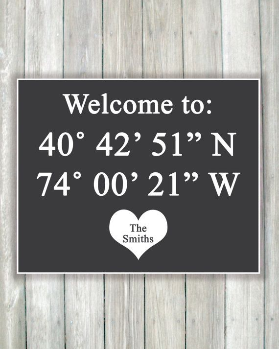 Custom Latitude Longitude Housewarming Gift Christmas Present Art Print Unique Wedding Bridal Shower Anniversary Gift Newlywed New Home Gift by Caldson Designs, $20.00