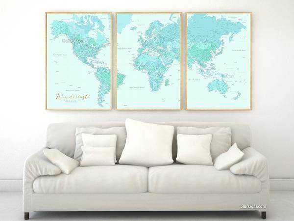 Mejores 103 imgenes de blursbyai lots of world maps en pinterest highly detailed word map poster set in aquamarine set of 3 split posters in 24x36 gumiabroncs Gallery