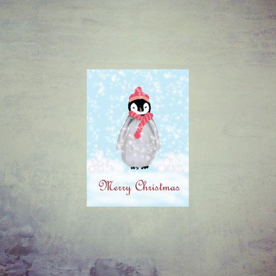Printable Christmas Card Printable Holiday Card by MerciKiss, $5.00#cristmascard #penguin #holidaycard #printablecard