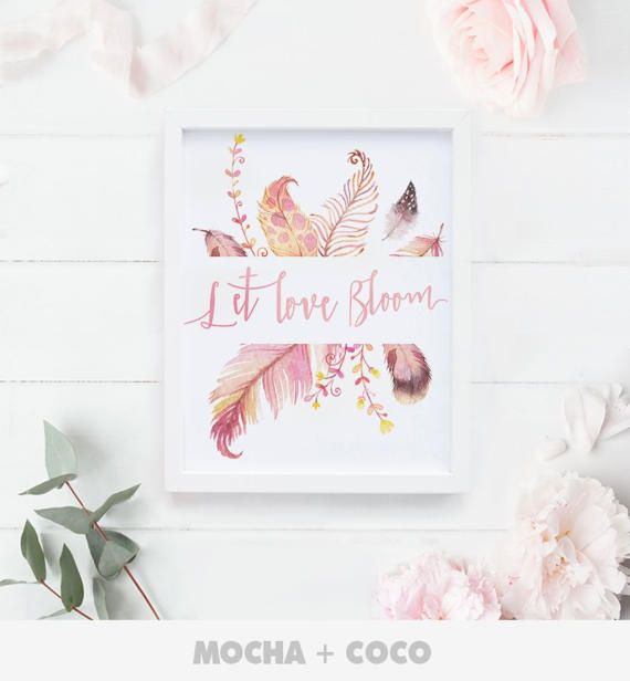 Let Love Bloom Printable Poster Floral Quote by MochaAndCoco