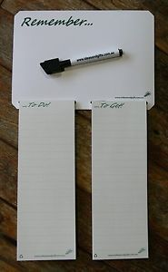 A5 Whiteboard Fridge Magnet Reminder with Recycled Paper 'Shopping List' Notepads & Pen.  Refer to link for full description & purchase information.