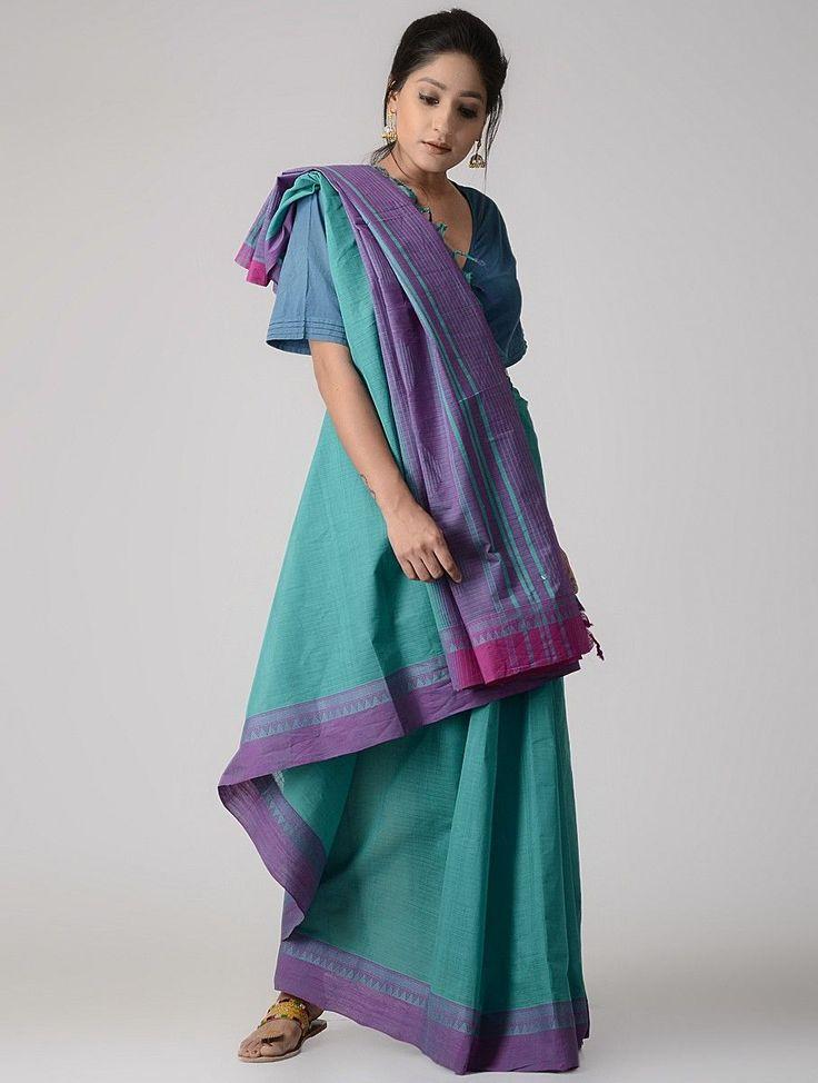 Buy Sea Green Purple Cotton Saree with Woven Border Sarees Online at Jaypore.com
