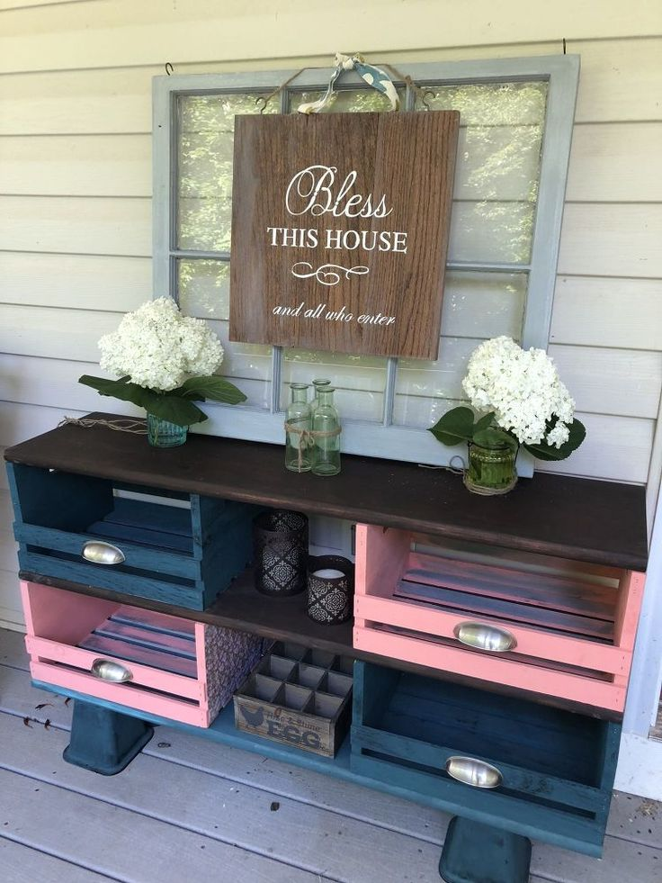 How to Make Teal and Coral Wooden Crate Storage Cubbies – Shabby Chic DIY