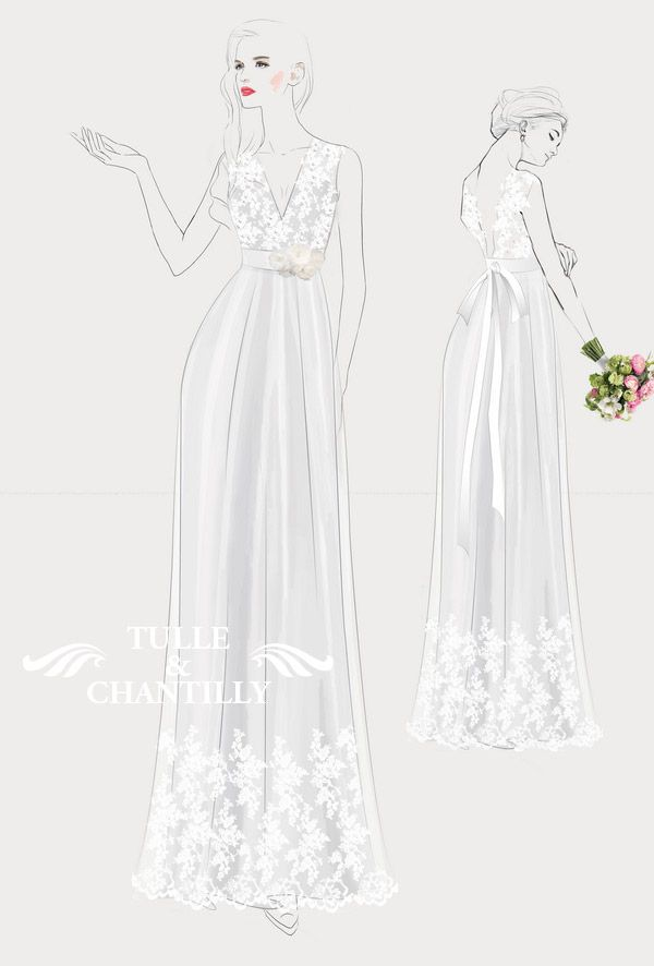 design your wedding dress rustic v neck lace wedding dress with champagne ribbon