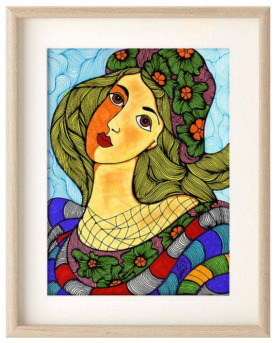 girl winter hat poster, girl flowers hat, Home decor, girl art print, girl wall decor, Pro Digital print, winter hat illustration