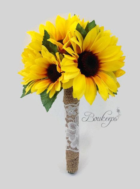 Sunflower Bouquet with Burlap and Ivory Lace Sunflower by Boukeeps