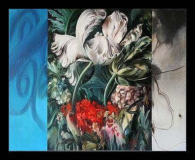 """Marilyn McAvoy makes real things out of illusory worlds in paintings that are about illusion. The paintings are about illusion and reality as well as """"fleetingness,"""" the fragmentary nature of our multi-media visual world and a pure, passionate love for fruit and flowers and for paint itself."""
