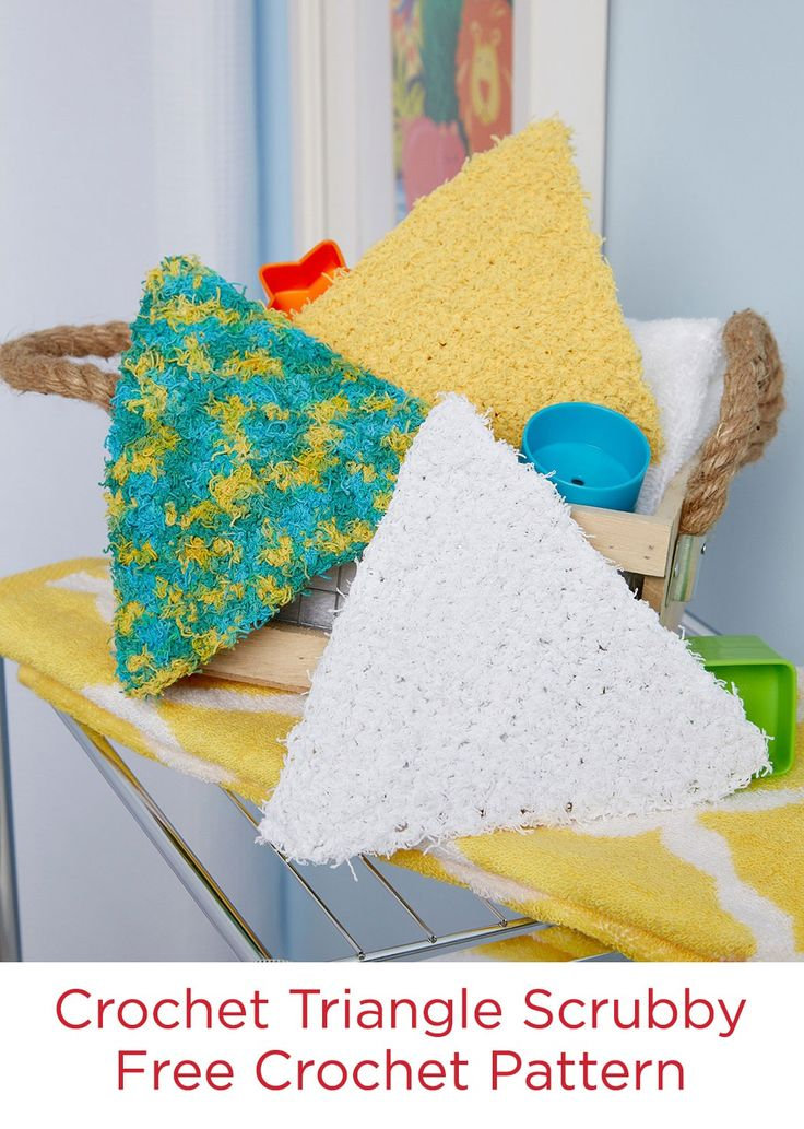 Crochet Triangle Scrubby Free Crochet Pattern in Red Heart Scrubby Cotton yarn