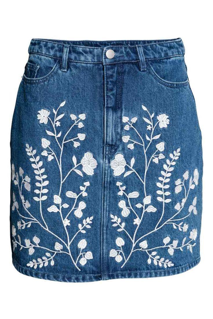 Denim rok met borduursel - Denimblauw - DAMES   H&M NL