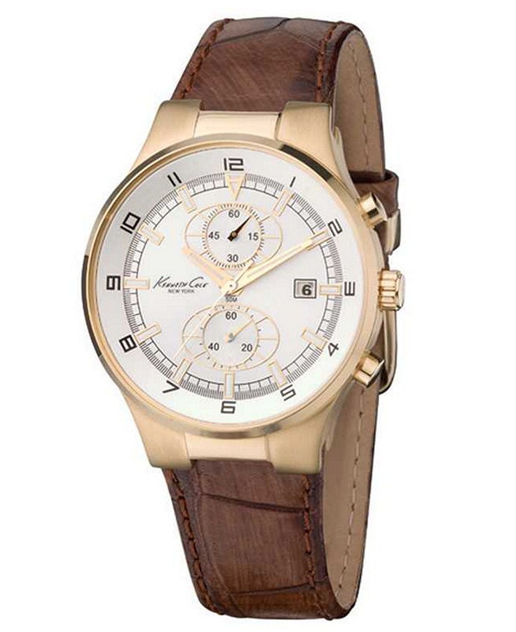 Kenneth cole new york watch mens chronograph leather strap kc1345 mens watches jewelry for Jewelry watches